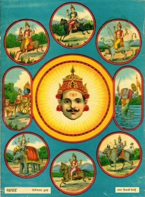 ««« 9 Грах Сил планет — НаваГраха ꞊ нава—дев'ять ⁺ Граха—впливає — небесна сутність Джйотіш Ведична астрологія »»»